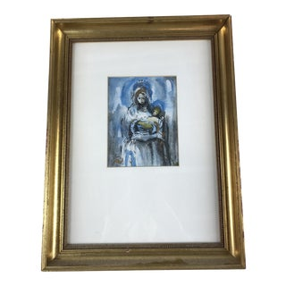 Vintage Framed Portrait Watercolor of Madonna and Child For Sale