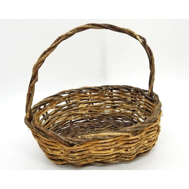 Vintage Rustic Willow Woven Branch Twig Basket For Sale - Image 4 of 9