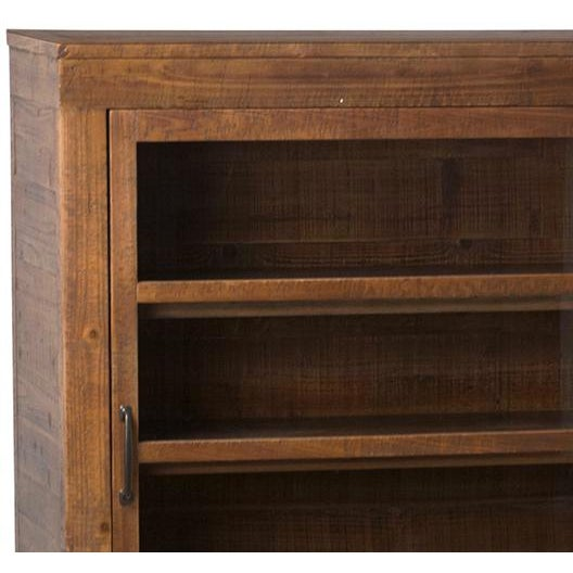 Sliding door wood sideboard, bookcase, or media cabinet. Midcentury inspired design with beautiful rich wood. Three...