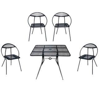 Salterini Mid-Century Modern Steel Outdoor Patio Dining Set