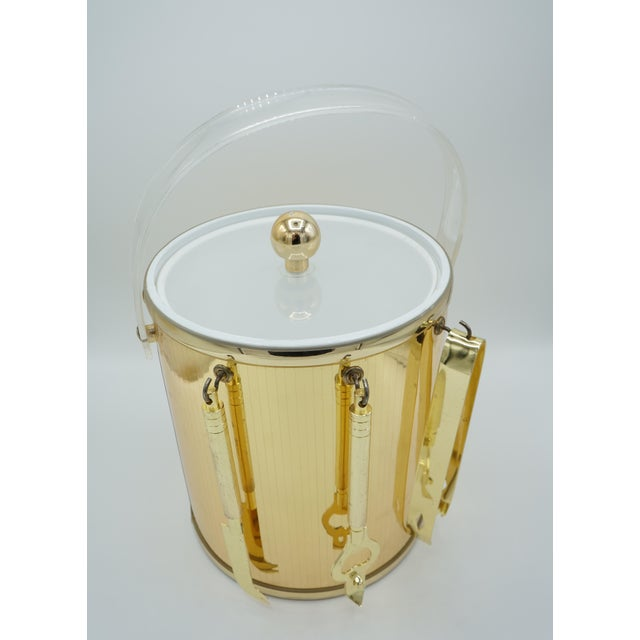 Hollywood Regency Golden Pinstriped Low Ball Cocktail Glasses (6) & Champagne Bucket With Bar Tools For Sale - Image 3 of 13