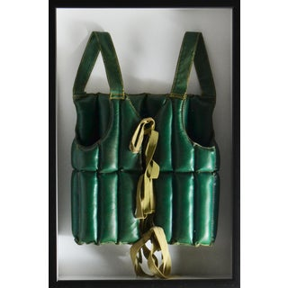 Framed Antique Green Life Vest - Very Rare For Sale