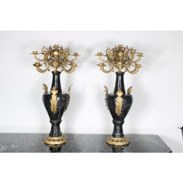 Marble and Brass Candelabras - A Pair - Image 2 of 5