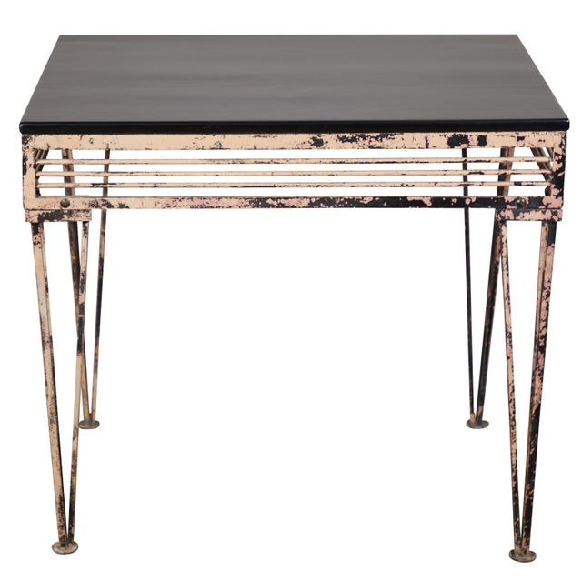 Vintage Iron Table With Black Wood Top For Sale - Image 9 of 9