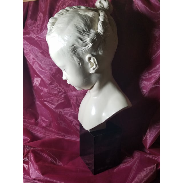 "Ceramic 1978 Austin Production Inc. ""Bust of a Little Girl"" - Slay Reproduction Sculpture For Sale - Image 7 of 7"