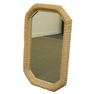 "Lexington Henry Link Furniture Cream/Off White 44x27"" Oval Wicker Dresser or Wall Mirror For Sale"