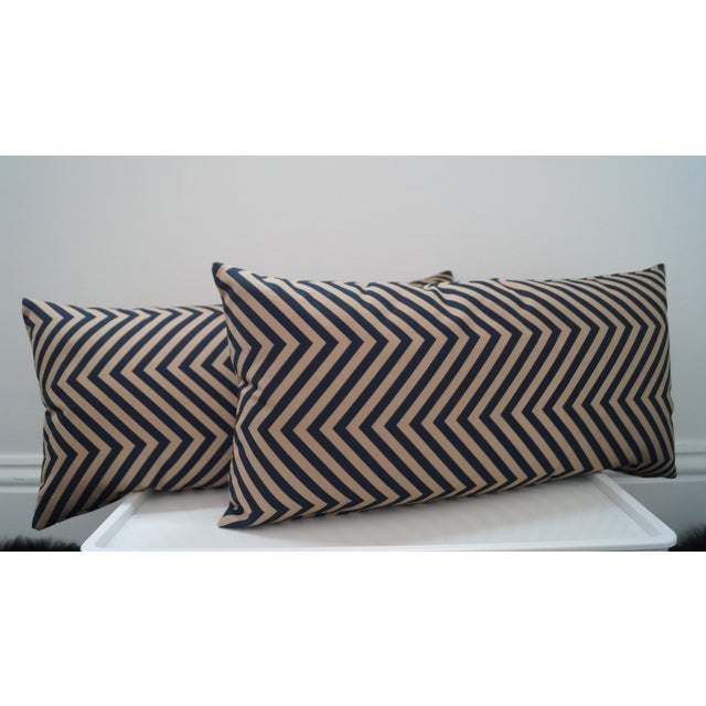 Taupe Triangular Stripe Pillows - a Pair - Image 2 of 3