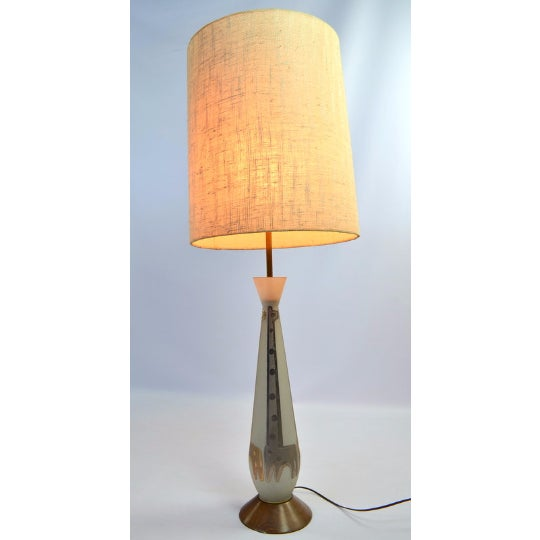 Frosted Glass Gold Giraffe Lamp with Wooden Base - Image 4 of 5