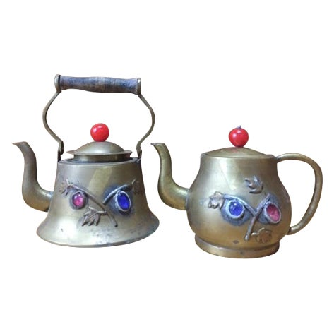 Vintage Brass Jeweled Tea Pots - A Pair - Image 1 of 9