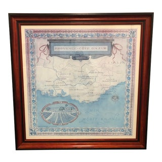 Hand Painted Provence Cote D' Azure (French Riviera) Map Print by Julie Ruff of Redstone Studios For Sale