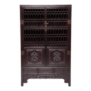 19th Century Chinese Honeycomb Lattice Display Cabinet For Sale