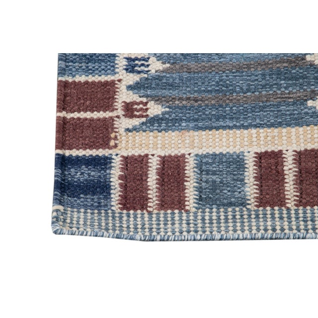 21st Century Modern Swedish Style Wool Runner Rug For Sale - Image 4 of 13