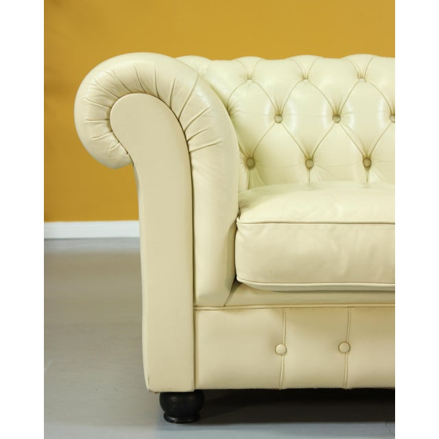 Animal Skin Vintage Beige Leather Chesterfield Sofa For Sale - Image 7 of 8