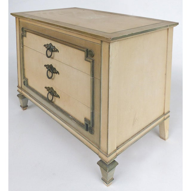 John Widdicomb Hand Painted Night Tables with Drawers, Pair Offered for sale is a pair of night tables by John Widdicomb...