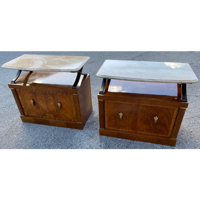 1980s Henredon Burl Nightstand Tables with Granite Tops - a Pair For Sale - Image 13 of 13