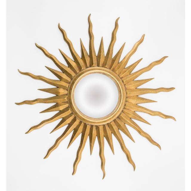 Mid 20th Century French Giltwood Convex Sunburst Mirror For Sale - Image 5 of 5