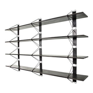 "Modern Ash Painted Black Strut Shelving - 84"" For Sale"