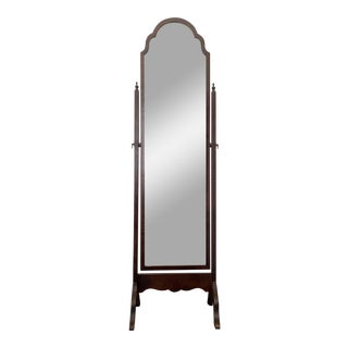 20th Walnut Queen Anne Style Antique Cheval Mirror For Sale