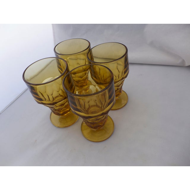 Mid century modern amber glasses set of 4 chairish for Mid century modern water feature