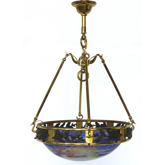 French Art Deco Bronze and Glass Pendant Chandelier After Muller Fres Luneville Offered for sale is a French Art Deco...