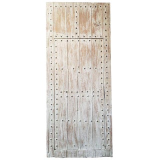 Moroccan White Washed Wooden Door For Sale