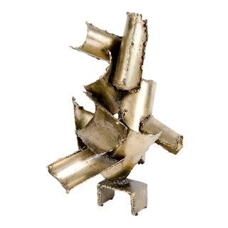 Marcello Fantoni Brutalist Torch Cut Steel Sculpture For Sale