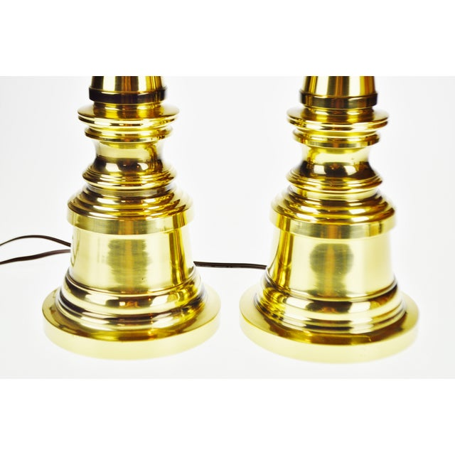 Vintage Brass Candlestick Table Lamps - a Pair For Sale - Image 10 of 13