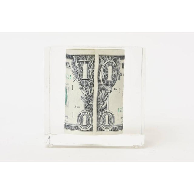 Lucite Vintage Dollar Bill Lucite Sculpture / Paperweight For Sale - Image 7 of 10