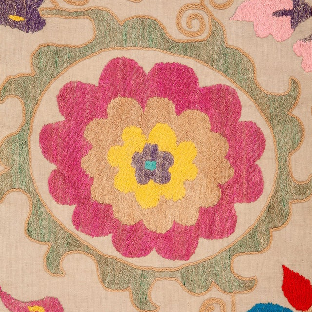 Mid 20th Century Vintage Colorful Hand Embroired Suzani Textile Bukhara Uzbekistan For Sale - Image 5 of 10
