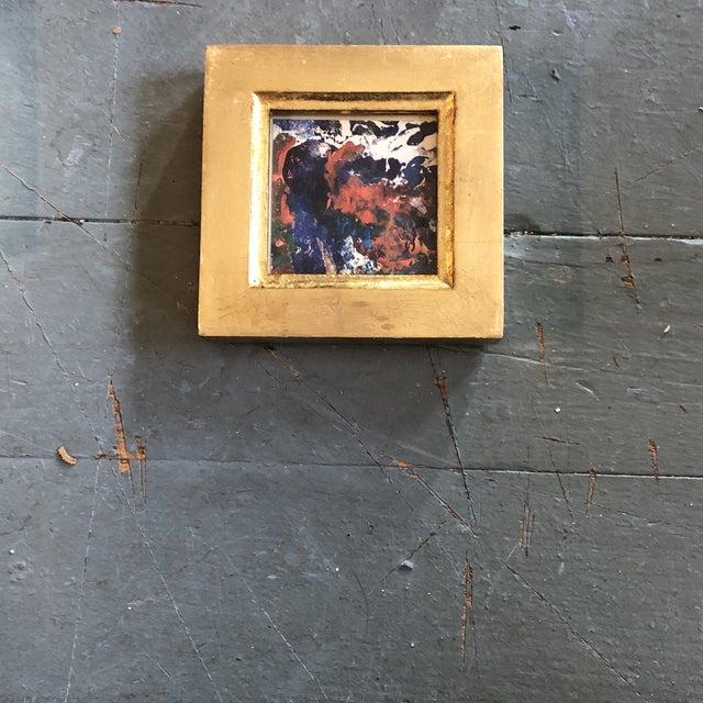 Original Vintage Miniature Abstract Oil Painting Vintage Italian Gilt Wood Frame 1970's For Sale - Image 4 of 4