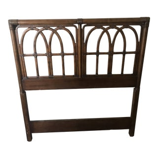 1980s Vintage Drexel Faux Bamboo Arch Twin Headboard For Sale