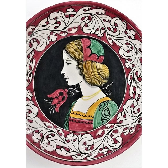Art Nouveau 1950s Vintage Italian Majolica Ceramic Wall Plaques by Giacomini Orvieto For Sale - Image 3 of 13