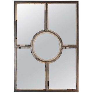 "Contemporary ""Quadrature"" Patinated Brass Beveled Mirror For Sale"