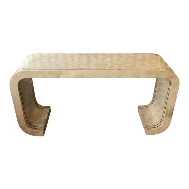 Maitland Smith Tessellated Stone and Brass Inlay Waterfall Console Table For Sale
