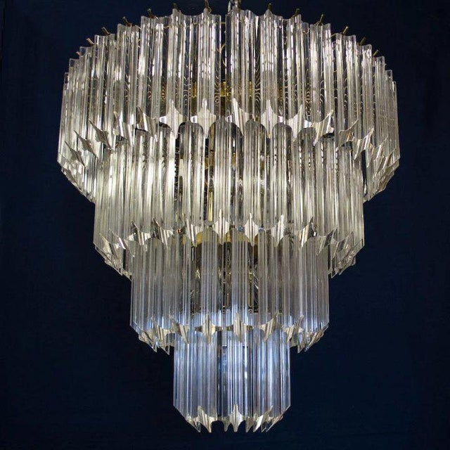 Venini 1960's Lucite Cascading Chandelier For Sale - Image 4 of 7