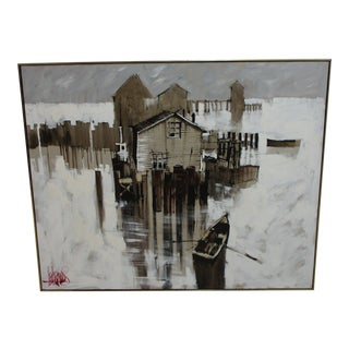 Vintage Mid Century Sea Side Dock Painting by Lee Reynolds For Sale