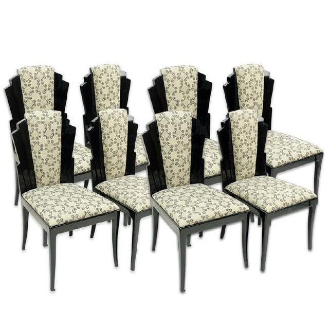 Lacquer Set of 8 Handmade Dining Chairs by Vladimir Kagan for Vladimir Kagan Designs, Signed For Sale - Image 7 of 7