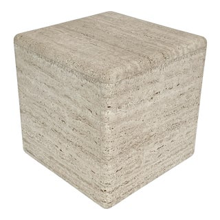 Vinatge Italian Travertine Cube Side Table For Sale