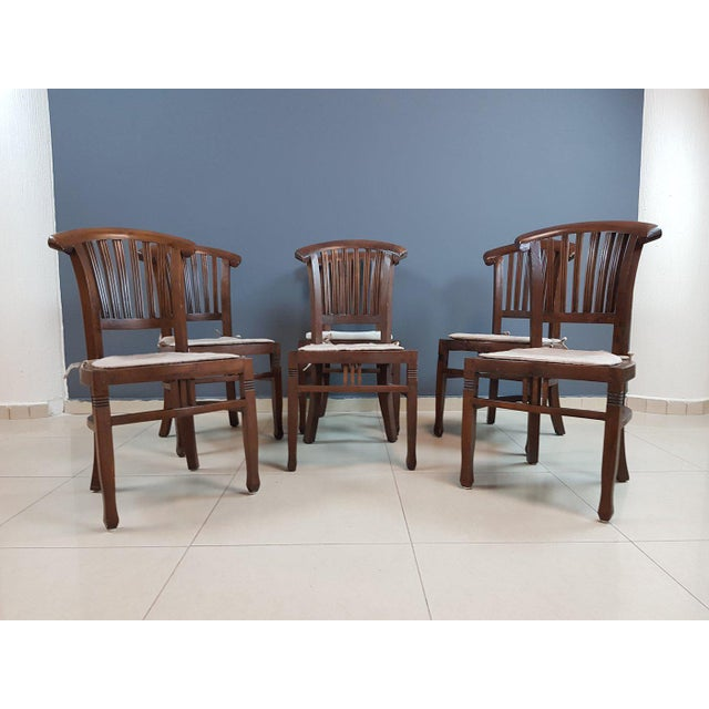 Vintage Wood Colonial Dining Set Table and 6 Chairs For Sale In New York - Image 6 of 13