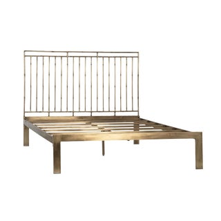 Modern Iron and Brass Eastern King Bed For Sale