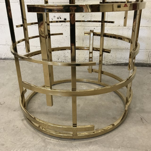 Mitchell Gold Mitchell Gold Glass and Brass Dining Table- Round For Sale - Image 4 of 10