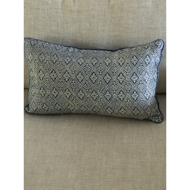 Blue Silver & Beige Accent Pillow - Image 2 of 4
