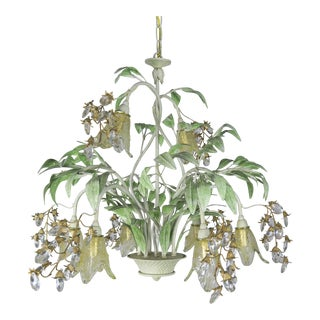 Painted Tole and Murano Glass Chandelier C. 1940's For Sale