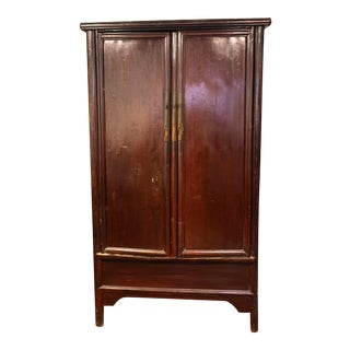 Antique Ming Style Chinese Oxblood Red Double Door Bookcase Cabinet For Sale