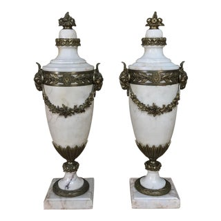 Pair 19th Century French Louis XVI Marble Cassolettes ~ Mantel Urns With Bronze Mounts For Sale