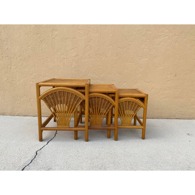 Naturally golden palm beach vintage boho bamboo and rattan nesting tables-3, beautiful side details and in great shape....