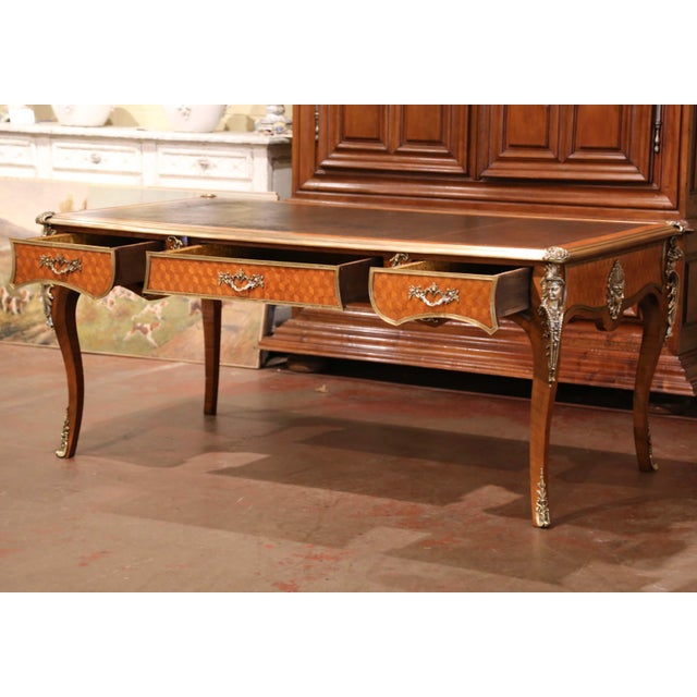 Metal 19th Century French Louis XV Marquetry and Bronze Bureau Plat With Leather Top For Sale - Image 7 of 13