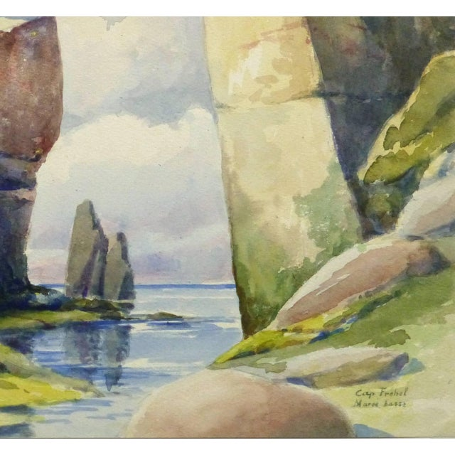 Mesmerizing watercolor of towering rock formations along Cape Fréhel in Brittany, France by S. Lefevre Goux, circa 1920. A...