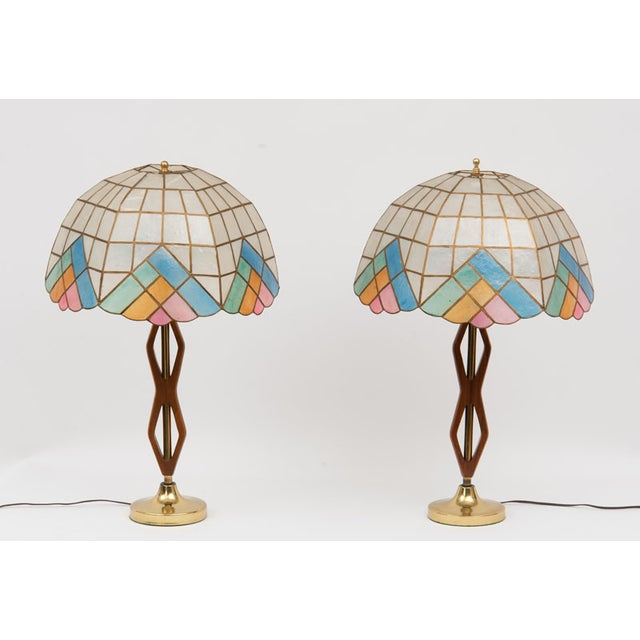Mid-Century Teak Lamps with Brass & Shades - Pair - Image 2 of 4