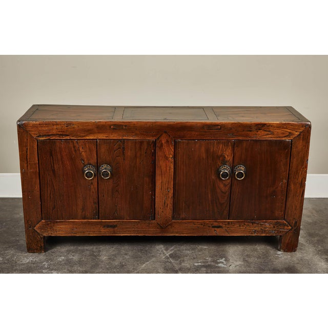A 19th century Shanshi four door sideboard made from elm and poplar. Great hardware and overall patina.